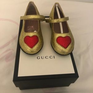 Gold and red Gucci girl shoes 9/12 months